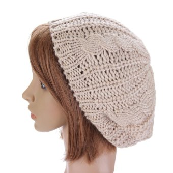 NEW Women Lady Winter Warm Knitted Crochet Hat Slouch Baggy Beret Beanie Cap Beige - Intl
