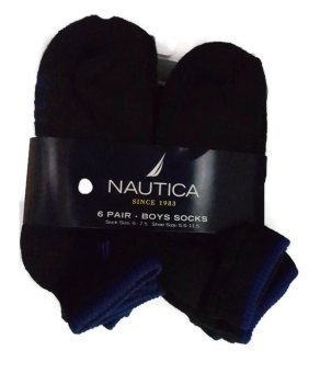Bộ 6 đôi tất đen bé trai Nautica Big Boys' 6 Pack Quarter Crew Socks