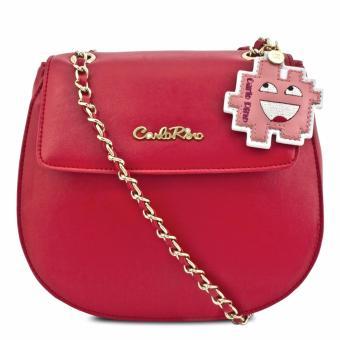Túi deo chéo với tag da Carlo Rino 0303393-001-04 (đỏ)