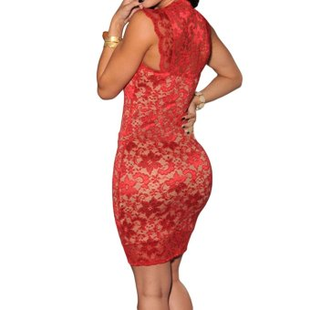 New Sexy Women Mini Dress Lace Nude Illusion Sleeveless Clubwear Bodycon Dress Red - Intl
