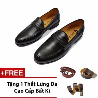 Giày Lười Nam Da Mờ Ensado Hq11 (Đen) + Tặng 1 Thắt Lưng Da Cao Cấp