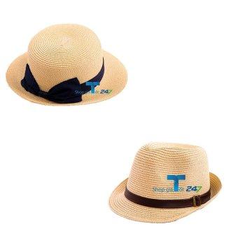 Cặp đôi 02 mũ cói nơ trơn+ 01 mũ MY MAN GT247
