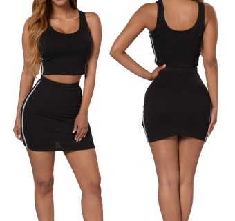 Gamiss Women Round Neck Top Hip Sport Two Pieces Set (Black) - Intl