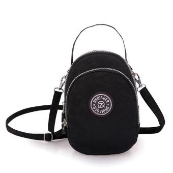 Waterproof Nylon Handbag Shoulder Diagonal Bag Messenger Bag Black (Intl)