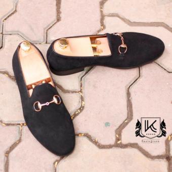 Giày loafer da lộn nam Kazin màu đen - KZD0050