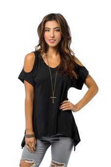 Cyber Sexy Women Casual V-Neck Off Shoulder T-Shirt Short Sleeve Solid Stretch T-Shirt Tops ( Black ) - Intl