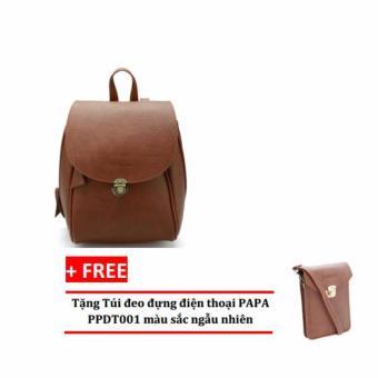 Balo thời trang nữ PAPA PPB002 (Bò đậm) + Tặng túi đeo đựng điện thoại PAPA PPDT001