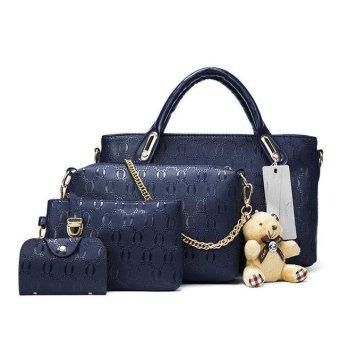 2017 Fashion Brand Women Bag Top-Handle Bags Women Messenger Bags Handbag Set PU Leather (Dark blue) - intl