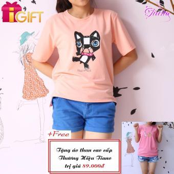 Áo Thun Nữ Tay Ngắn In Hình Con Mèo Dsquared 2 Năng Động Tiano Fashion LV160 ( Màu Hồng Mận ) + Tặng Áo Thun Nữ Tay Ngắn In Hình Con Mèo và Con Vịt Dễ Thương Tiano Fashion