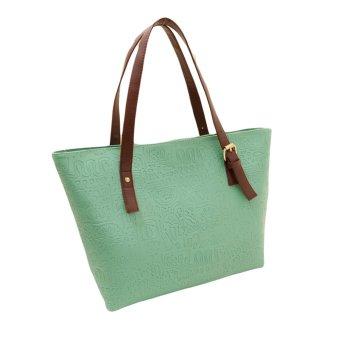 New Fashion Women Lady Handbag PU Leather Vintage Print Candy Color Tote Shoulder Bag Green - intl