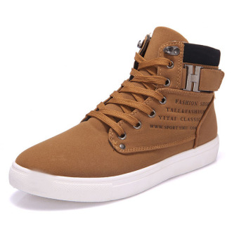 Men Matte-leather High Top Fashion Sneakers Breathable Causal Flat Sports Shoes Khaki - Intl - Intl