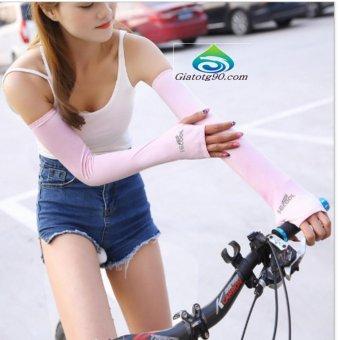 Găng Tay Chống Nắng Xỏ Ngón, Chống Tia UV Thời Trang TL6336-2 (hồng)