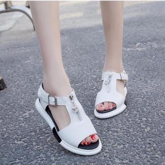 Giày sandal nữ khóa kéo cá tính S025T (Trắng)