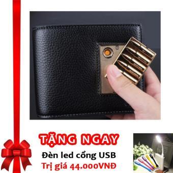 Bóp Ví Da Nam Cao Cấp Kiêm Bật Lửa Hồng Ngoại Cá Tính Kèm Cáp Sạc USB F91 ((Đen - Bạc (Mẫu ngẫu nhiên)) + Tặng đèn LED cổng USB