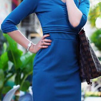 Đầm Xếp Ly LAVA (Xanh)