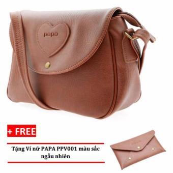 Túi đeo chéo nữ PAPA PPT002 (Bò Đậm) + Ví nữ PAPA PPV001