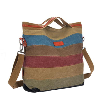 Canvas color stitching women bag fashion leisure brand laptop bags (Intl)