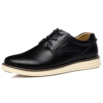 2016 Men Business Casual Shoes Men Leather Shoes Lace-Up Pointed Toe British Style With Men Shoes Flats - intl