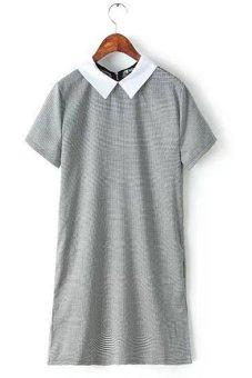Sunweb Women's Turndown Collar Short Sleeve Plaid Mini Dress - Intl