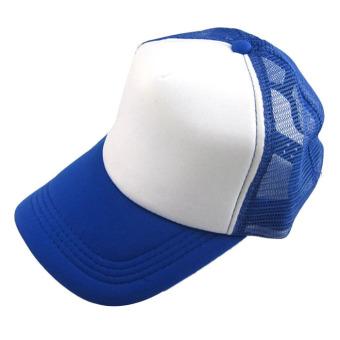Casual Hat Solid Baseball Cap Trucker Mesh Blank Visor Hat Darkblue+White