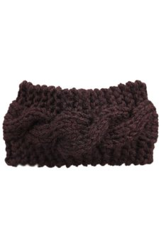 HKS Women Crochet Turban Ear Warmer Hair Band Knit Knitted Hairwrap Coffee - intl