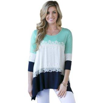34 Sleeve Lace Stitching Women's T-shirt S Blue - intl