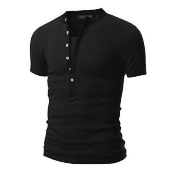 Mens V Neck Short Sleeve Slim Fit T-Shirt(Black) - intl