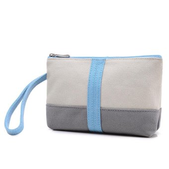 Women Fashion Canvas Fight Color Handbag Bag Small Tote Ladies Purse Blue - intl