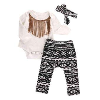 3pcs Newborn Infant Baby Girls Tassels Romper+Pants+Headband Legging Outfits Set - intl