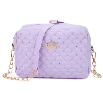 Chain Belt Shoulder Messenger Bag Detachable Crown Rivet Grid Women(Purple) - intl