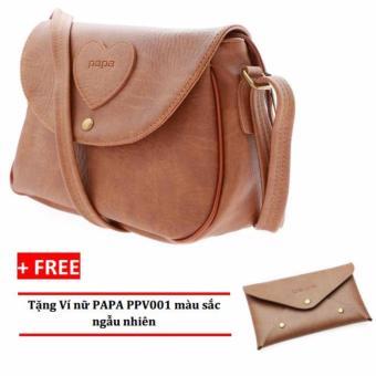 Túi đeo chéo nữ PAPA PPT002 (Bò Nhạt) + Ví nữ PAPA PPV001