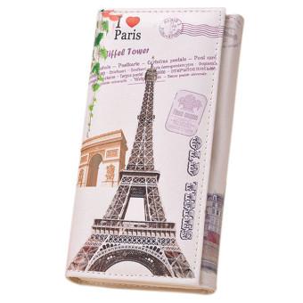 Fashion Women Long Wallet PU leather Paris Flags Eiffel Tower Style Wallet - Intl