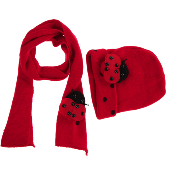 Warm Baby Boys Girls Hat Scarf Set Cute Knitted Cotton Hats(Red) (Intl)