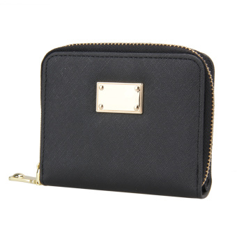 New Fashion Ladies PU Leather Short Zipper Matte Cross Pattern Wallets Card - intl