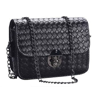Girl Leather Mini Small Woven Pattern Shoulder Bag Handbag Messenger Black - Intl