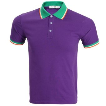 Brand Blue Polo Men Short Sleeve 2017 Mens Summer Fashion Solid Color Polo Shirts Casual Style Polos (Purple) - intl