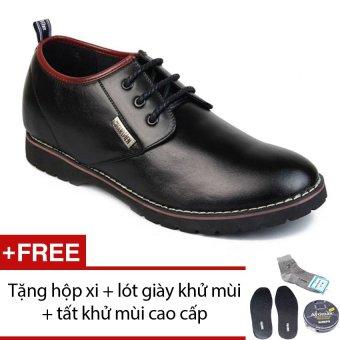 Giày nam công sở tăng chiều cao SMARTMEN GD1-05 (Đen) + Tặng 1 hộp xi + 1 lót giày khử mùi + 1 đôi tất khử mùi