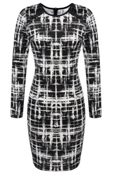 Cyber ANGVNS Elegant Women Printed Business Office Work Fitted Stretch Bodycon Dress (Black) - Intl