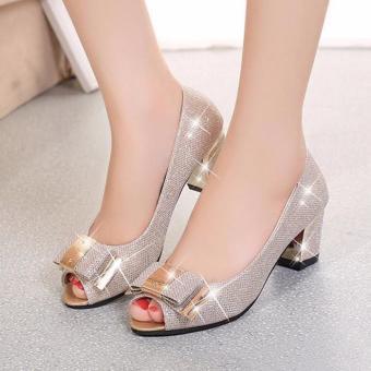 Giày gót vuông hở mũi nơ kim loại cao cấp - LN211