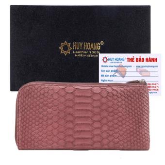 HL3323 - Ví nữ da trăn Huy Hoàng 1 khóa màu tím