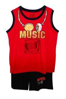 Bộ quần áo sát nách Music (Đỏ)