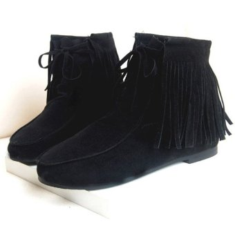 2016 Women's Fringe Tassel Ankle Boots Flats Matte Suede Lace Up Moccasins Shoes Black - intl