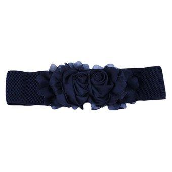 Bluelans Women's Flower Elastic Waist Belt (Black) (Intl)