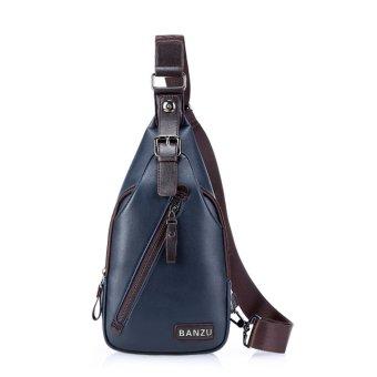 New Fashion Men Chest Bag PU Leather Zipper Hasp Messenger Shoulder Bag Travel Sling Day Pack Blue - Intl
