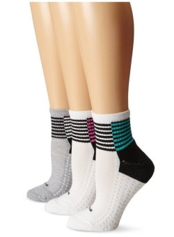 Bộ 3 đôi tất (vớ) đệm nữ Hue Women's Air Cushion Mini Crew Sock 3-Pack, Mermaid Blocked Stripe (Mỹ)