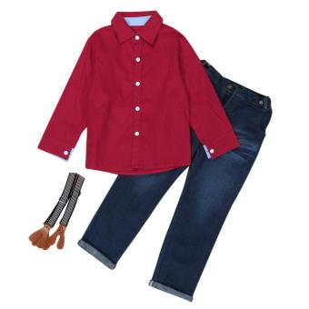 1Set Kids Toddler Boys Handsome Red Shirt+Braces Trousers Clothes Outfits - intl