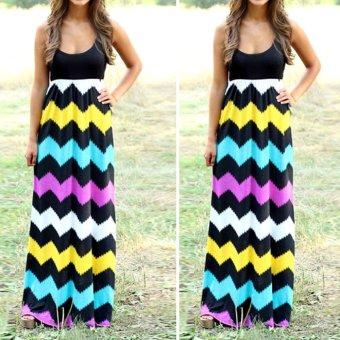 Women Casual Loose Multicolor Waved Summer Long Maxi Dress Black - intl