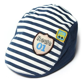 Cute Baby Infant Boy Girl Stripes Cotton Baseball Cap Peaked Beret Hat Casquette Dark Blue - intl