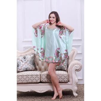Váy ngủ đầm ngủ hoa phi bóng gợi cảm quyến rũ - Xanh