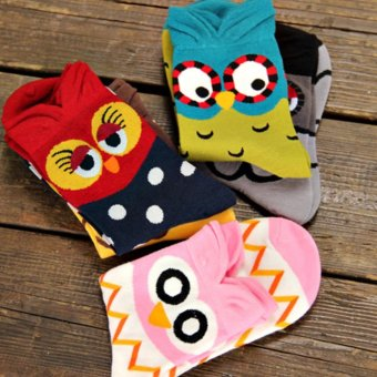 Moonar Cartoon Colorful Owl Socks Women Cotton Socks (Pink) - intl